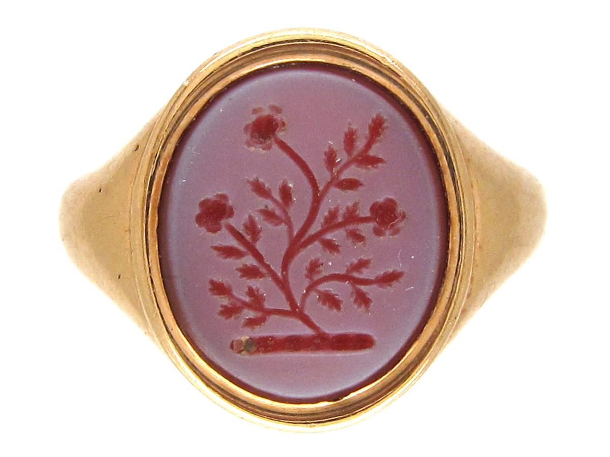 18ct Gold Carnelian Intaglio Signet Ring