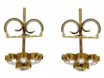 Natural Split Pearl & Diamond 18ct Gold Victorian Earrings