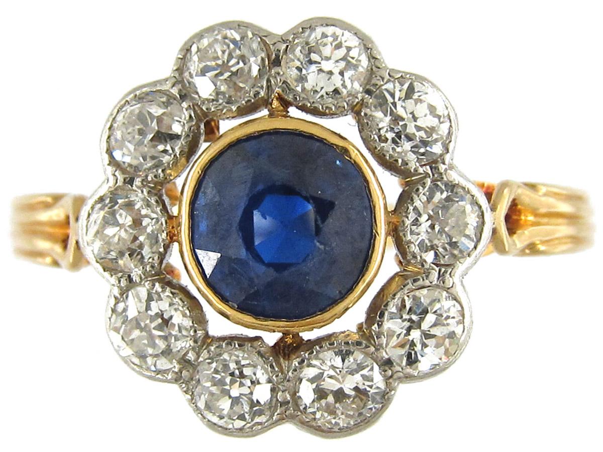 Sapphire & Diamond Open Cluster Edwardian Ring