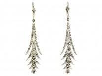 Art Deco Silver Palm Frond Drop Earrings