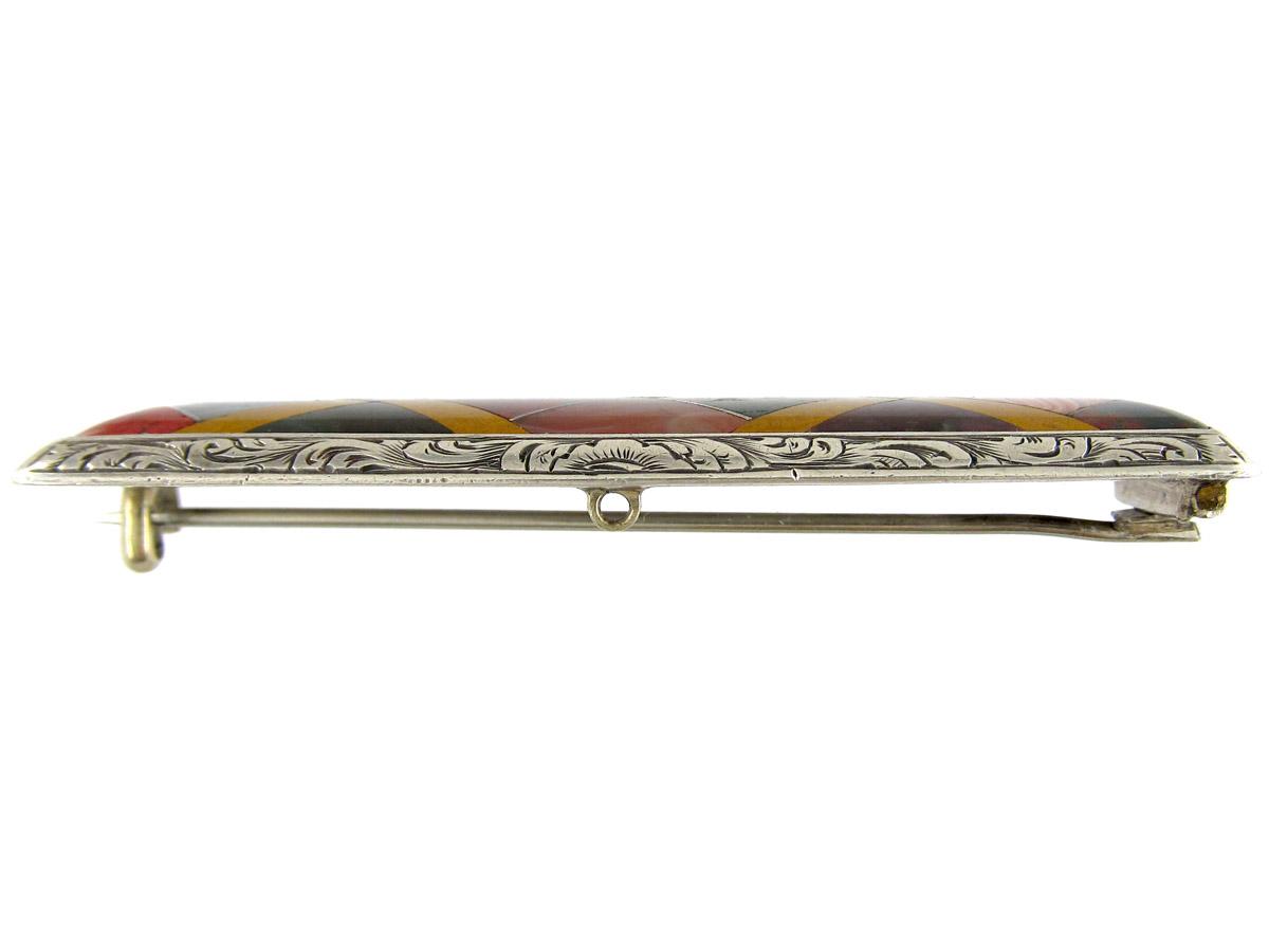 Victorian Silver & Agate Scottish Brooch
