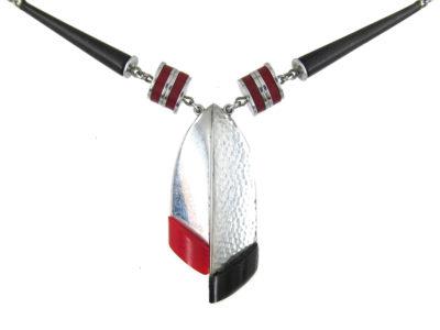 Jakob Bengel Art Deco Metal & Bakelite Necklace