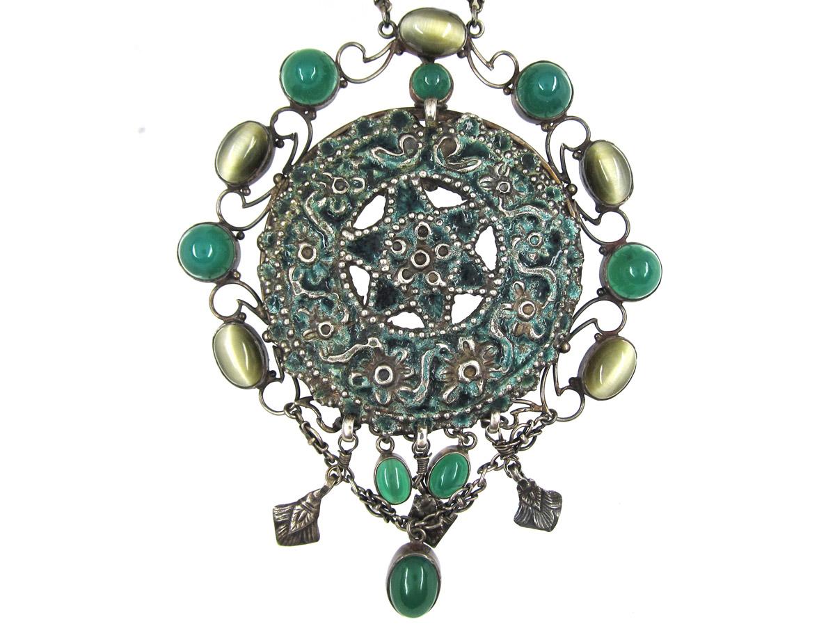 Large Arts & Crafts Silver, Chalcedony, Cat's Eye & Enamel Necklace