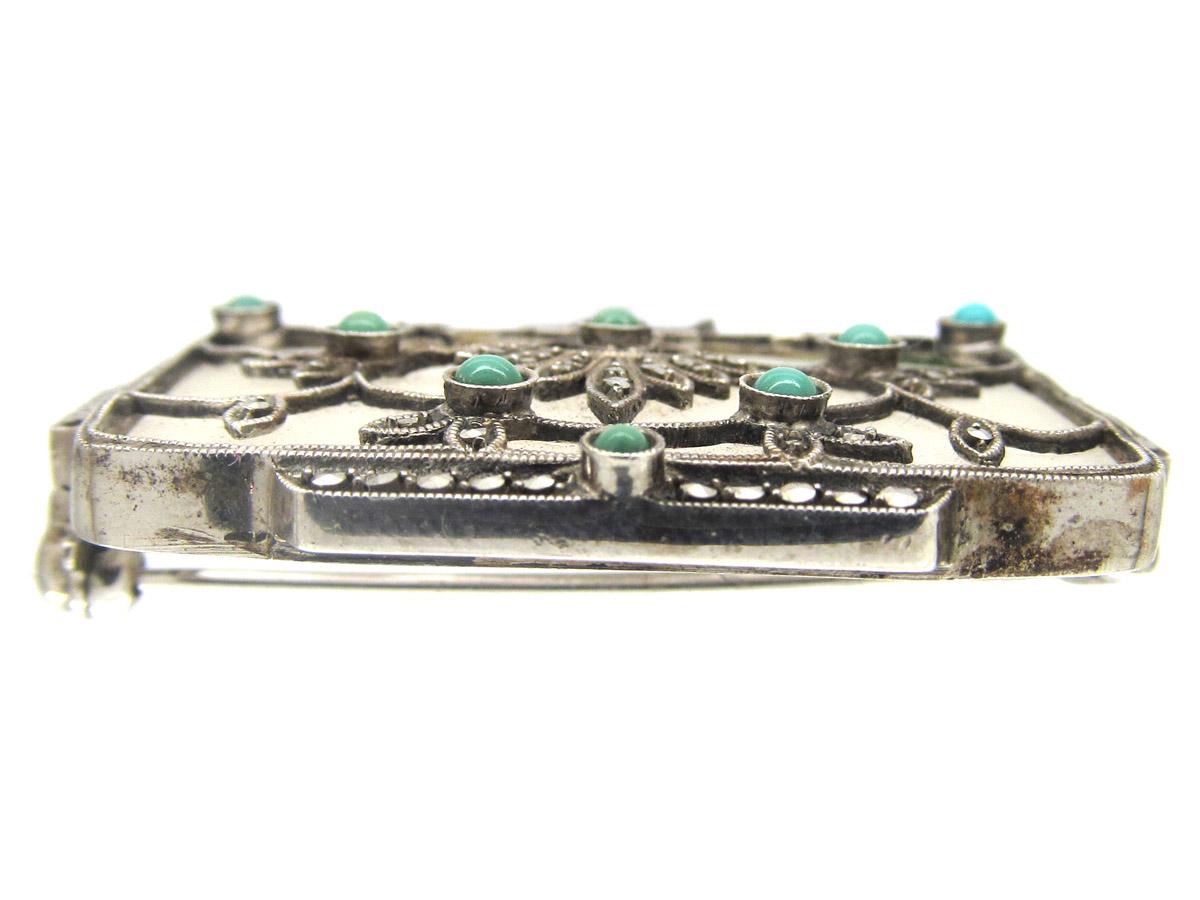 Theodor Fahrner Rock Crystal Turqouise Silver Brooch