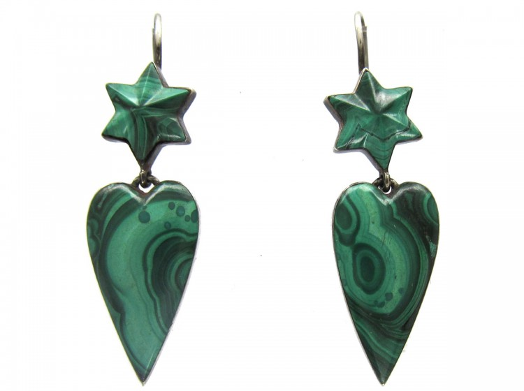 Victorian Silver Scottish Malachite Heart Drop Earrings