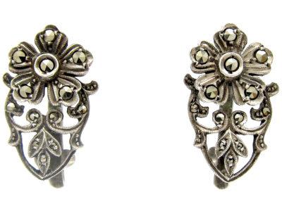 Silver & Marcasite Flower Clip Earrings