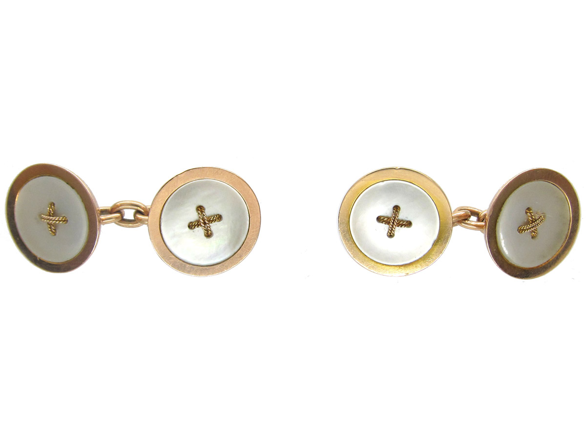 Art Deco 9ct Gold Mother of Pearl Button Cufflinks