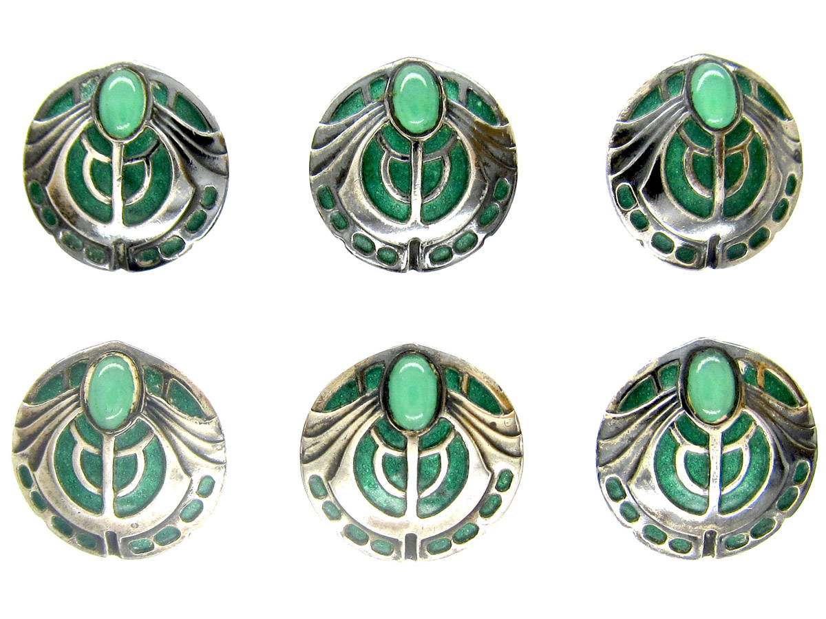 Theodor Fahrner Style Silver, Enamel & Chalcedony Buttons