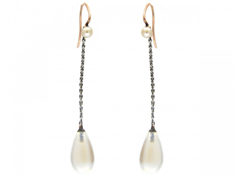 Moonstone & Pearl Drop Earrings with Platinum Chain