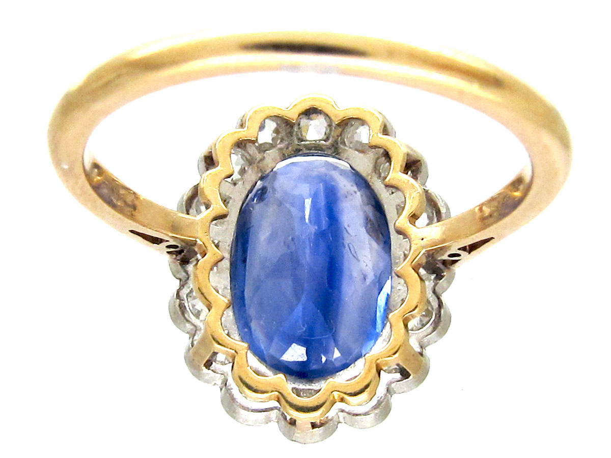 Native-Cut Ceylon Sapphire & Diamond Edwardian Ring
