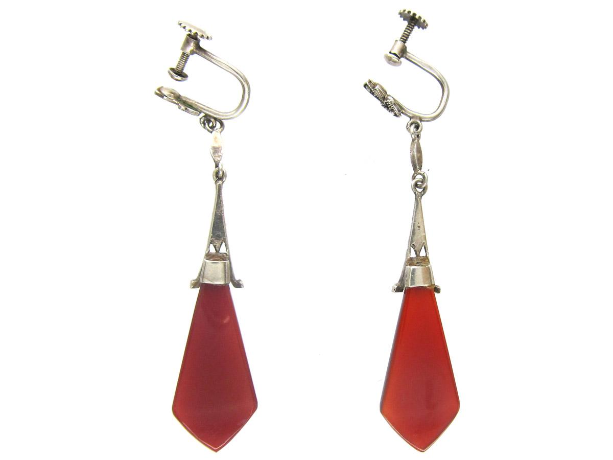 Art Deco Marcasite Drop Silver Carnelian Earrings