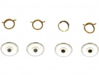 Four 9ct Gold Mother of Pearl & Sapphire Buttons