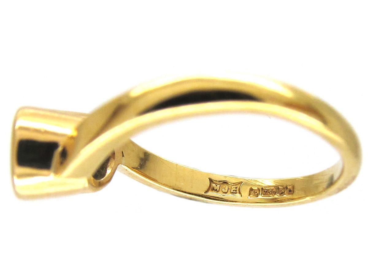 Art Nouveau Emerald & Diamond Twist Ring