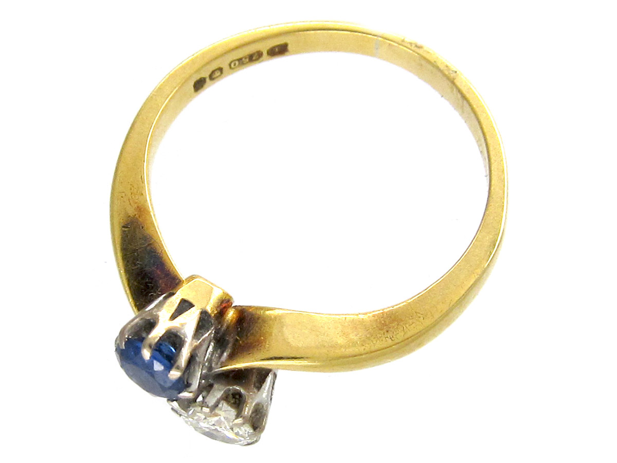 Art Nouveau Sapphire & Diamond Twist Ring