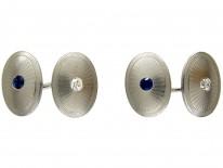 Platinum Art Deco Sapphire & Diamond Oval Cufflinks