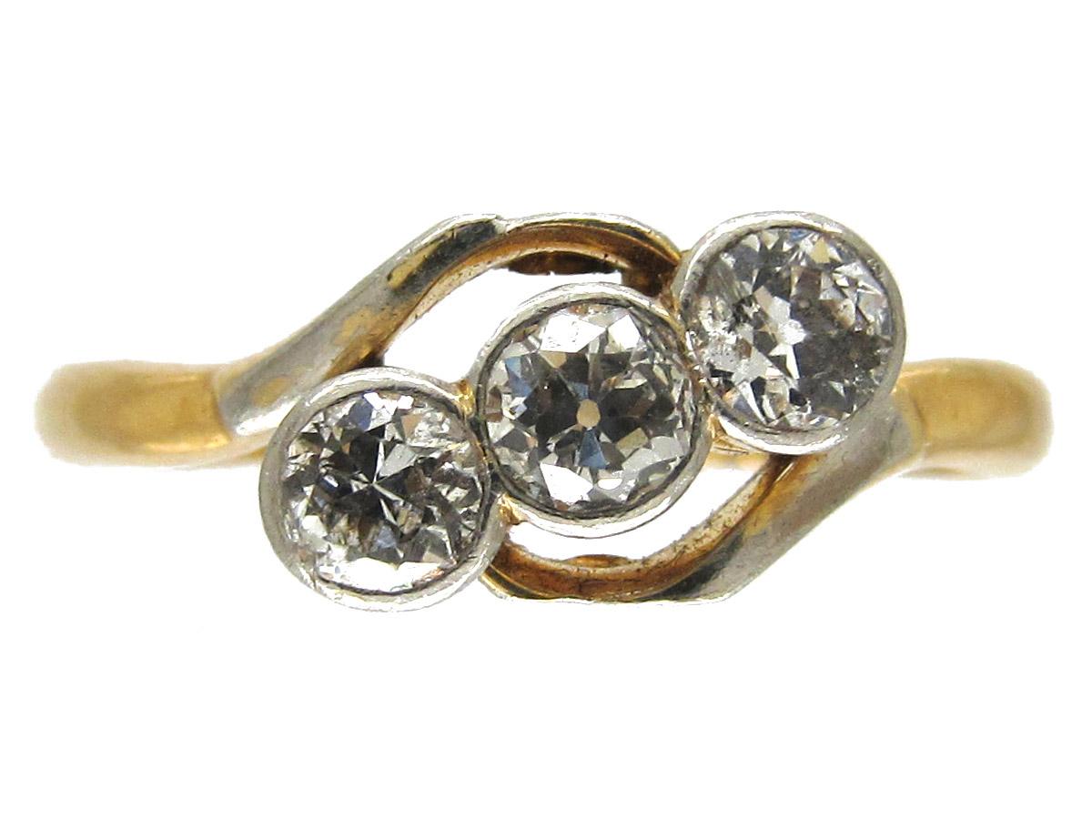 Three Stone Diamond Crossover Ring