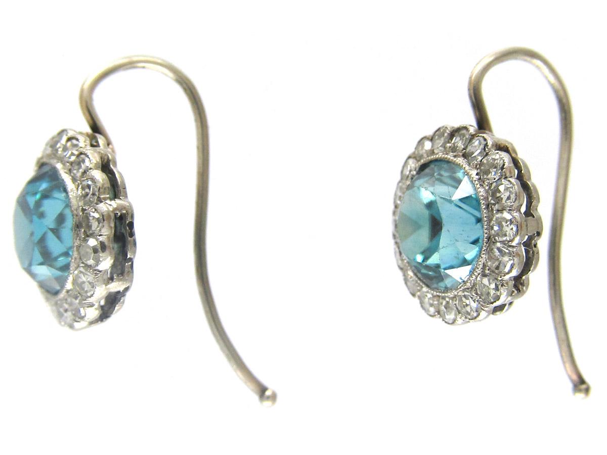 Edwardian Blue Zircon & Diamond Cluster Earrings