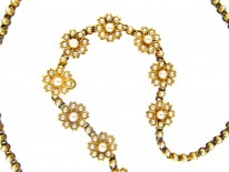 Victorian 15ct Gold & Natural Split Pearl Flower Necklace