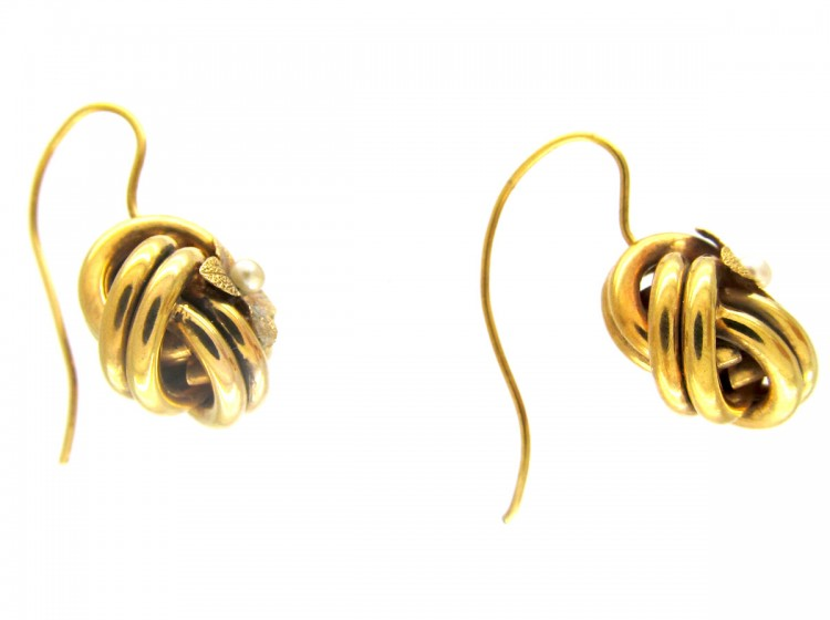 15ct Gold Victorian Flower Knot Earrings