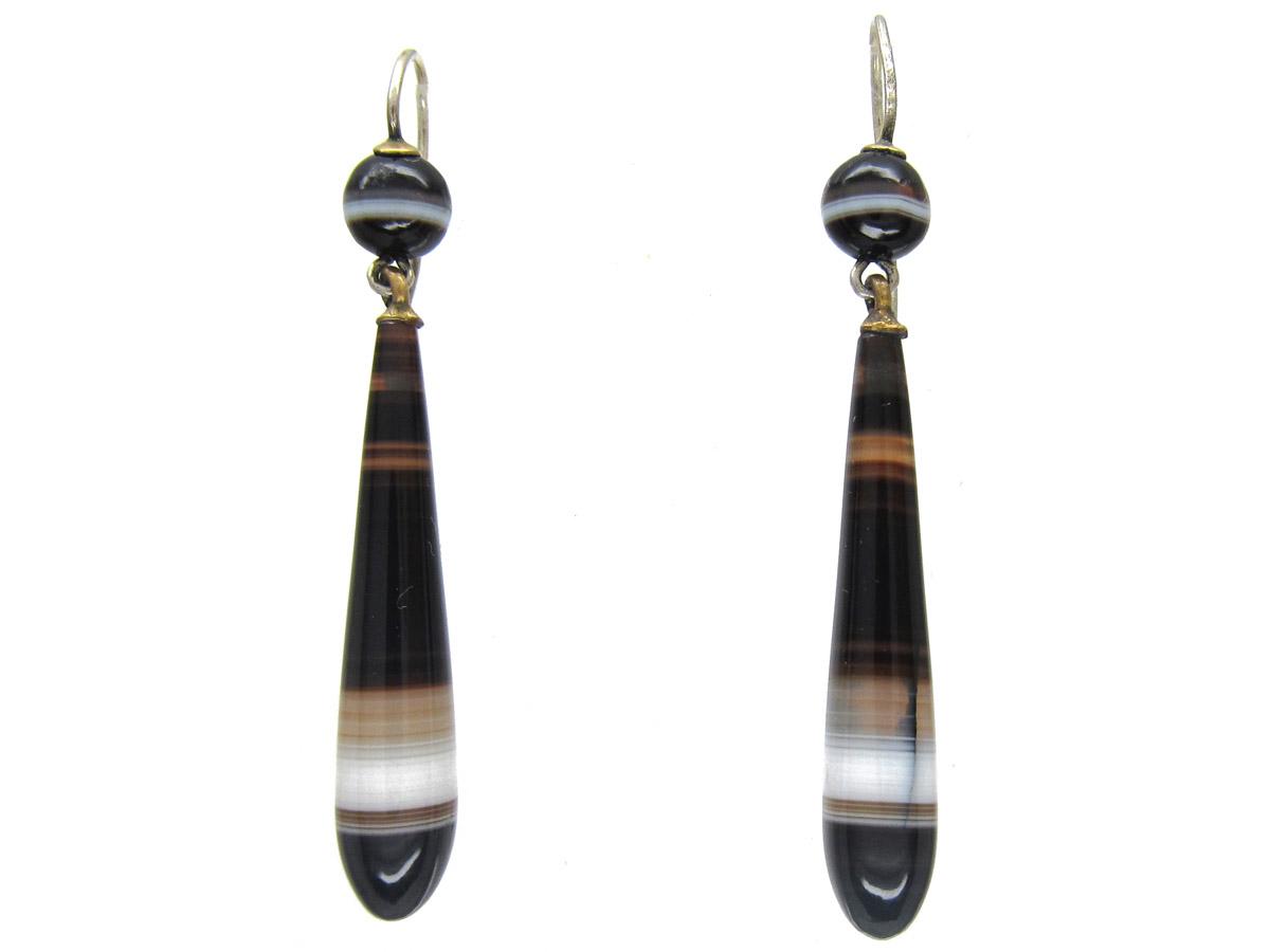 Victorian Silver Banded Sardonyx Drop Earrings