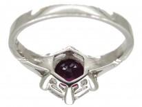 Natural Ruby & Diamond Hexagonal Art Deco Ring