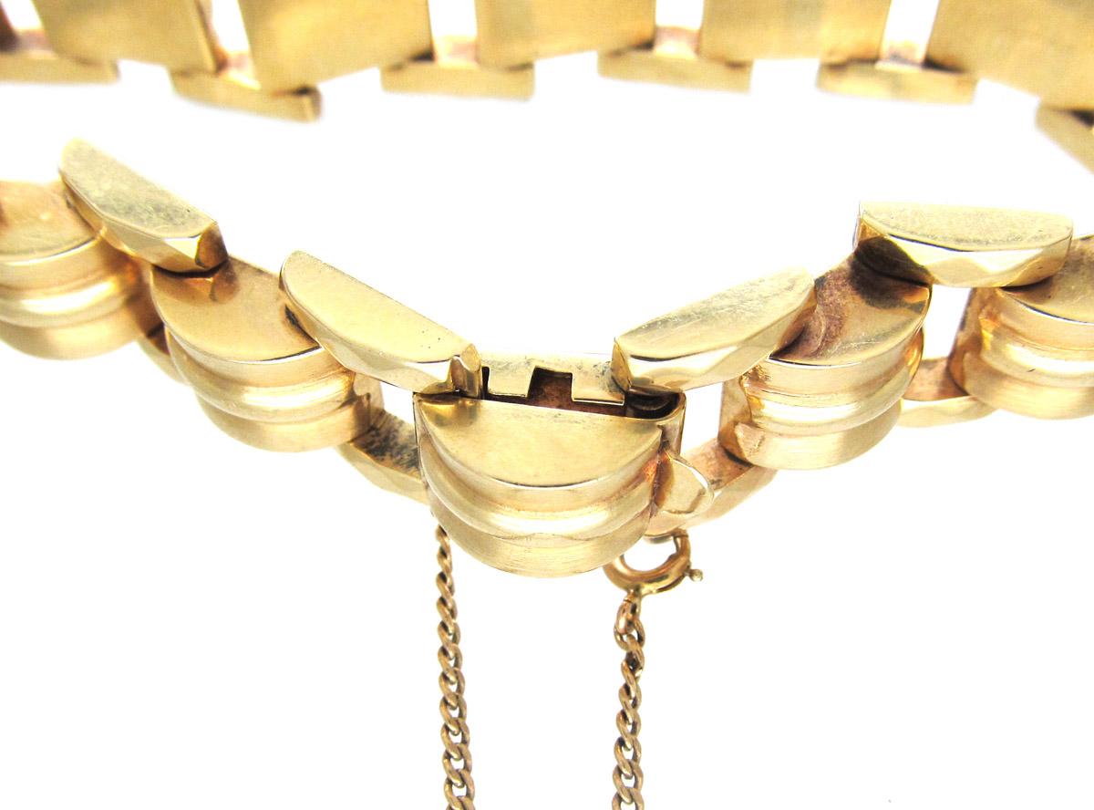 Retro 18ct Gold Articulated Tank Bracelet