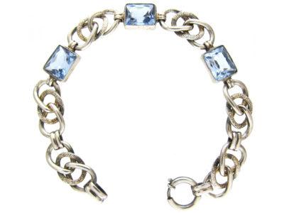 Silver & Blue Paste Art Deco Bracelet