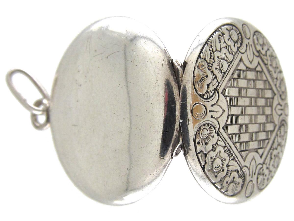 Art Deco Round Silver Locket Pendant