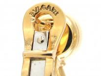 18ct Gold Blue Topaz, Diamond & Pearl Earrings by Bulgari