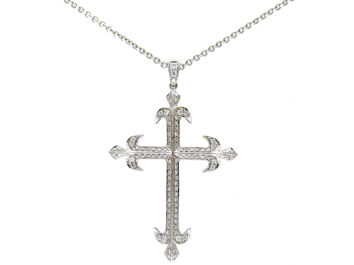 Diamond Set & White Gold Cross on Chain