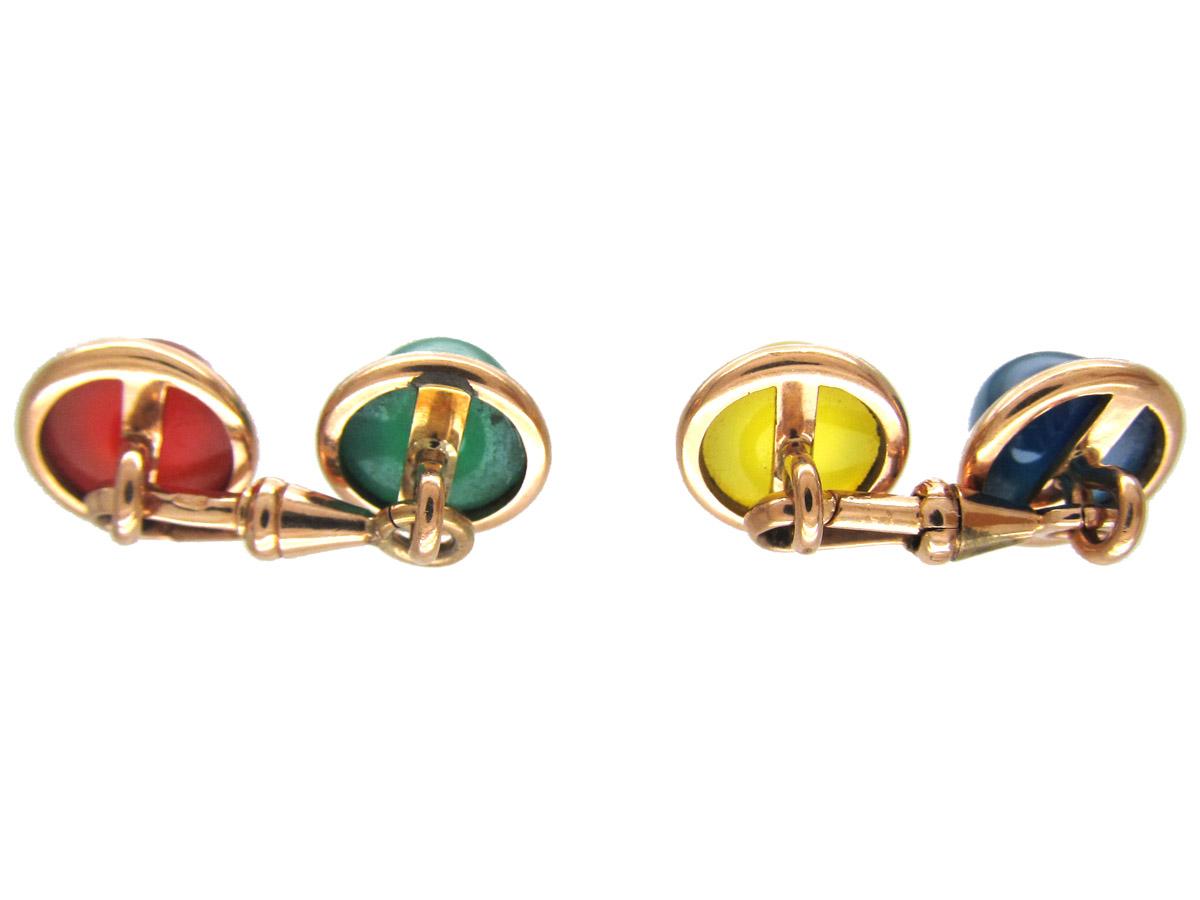 Multi Stone Gold Cufflinks