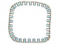 Danish Art Deco Pale Blue Enamel & Silver Necklace