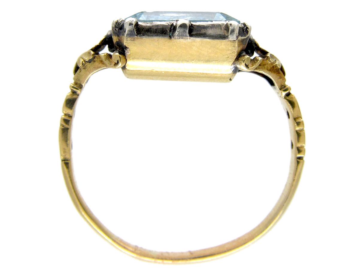 Georgian Barrel Shaped Aquamarine Ring