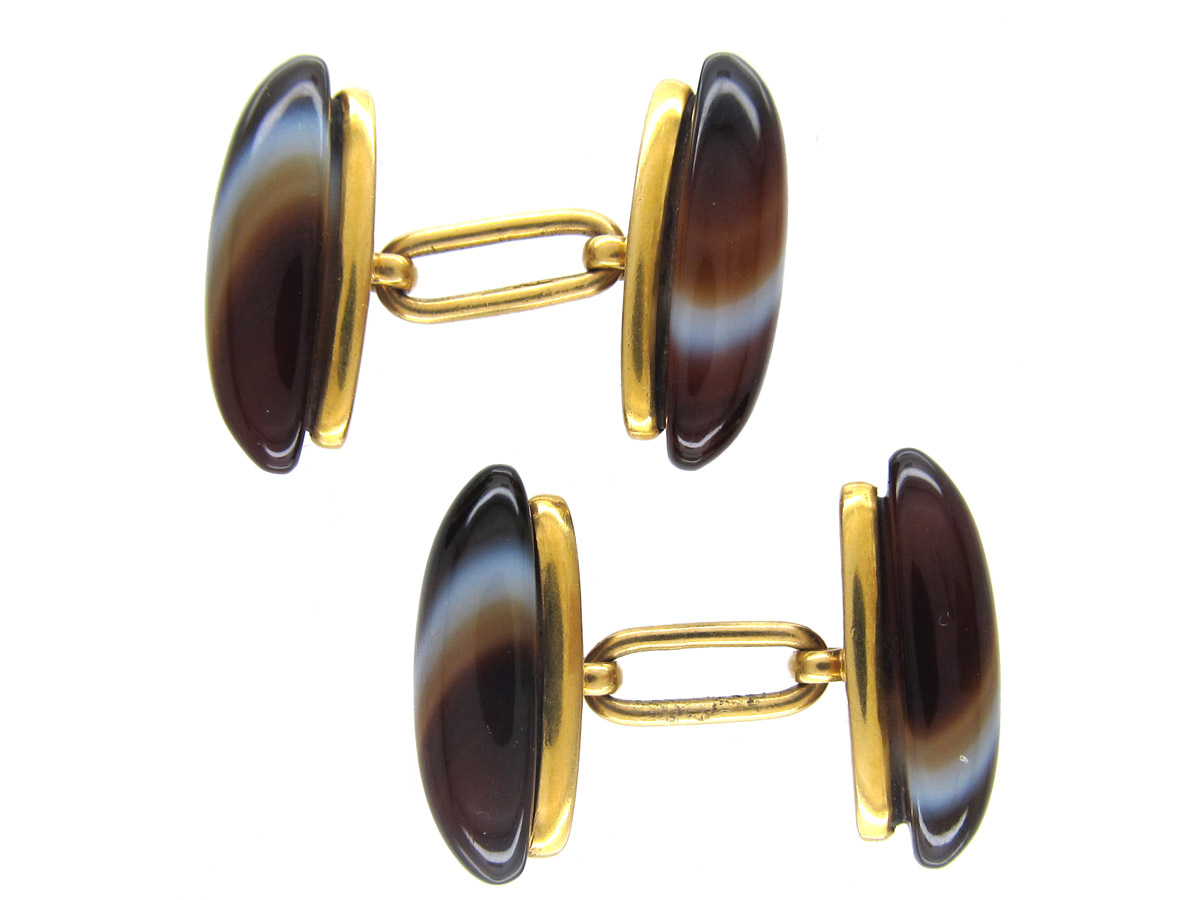 Banded Onyx 18ct Gold Victorian Cufflinks