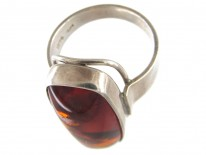 Amber & Silver Ring by Fishland