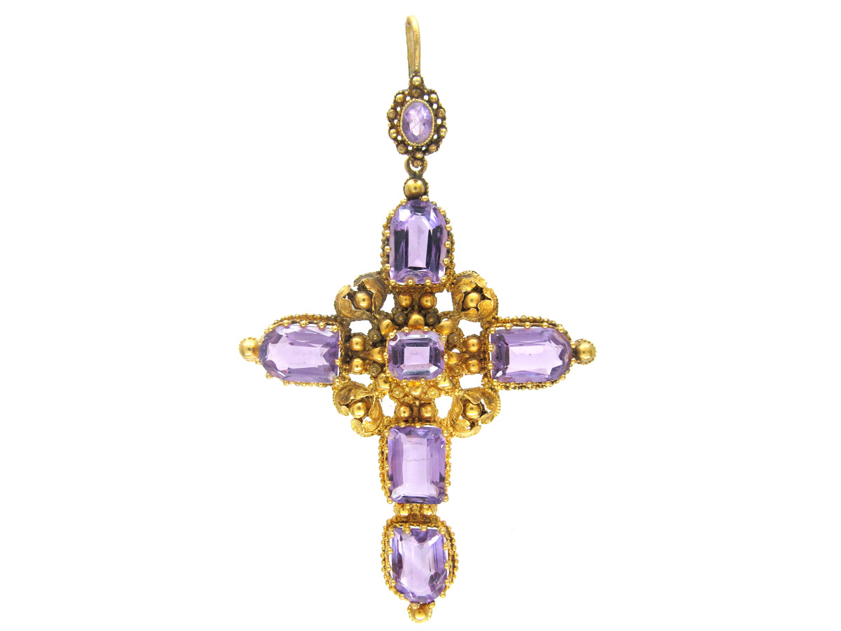 Georgian Large 18ct Gold & Amethyst Cross