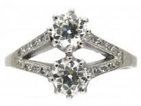 Two Stone White Gold Diamond Art Deco Ring