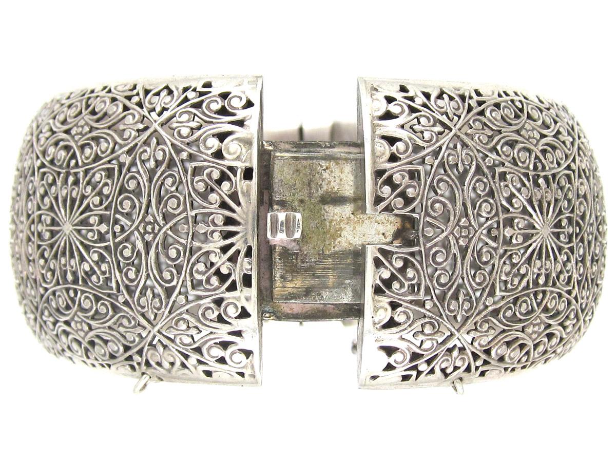Pierced Silver Victorian Bangle