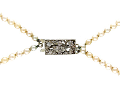 Two Row Graduated Pearl Necklace with Diamond Clasp
