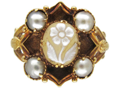 Hardstone Flower & Natural Pearl Late Georgian Ring