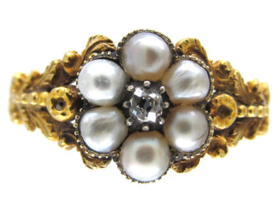 Georgian Pearl & Diamond Cluster Opening Ring