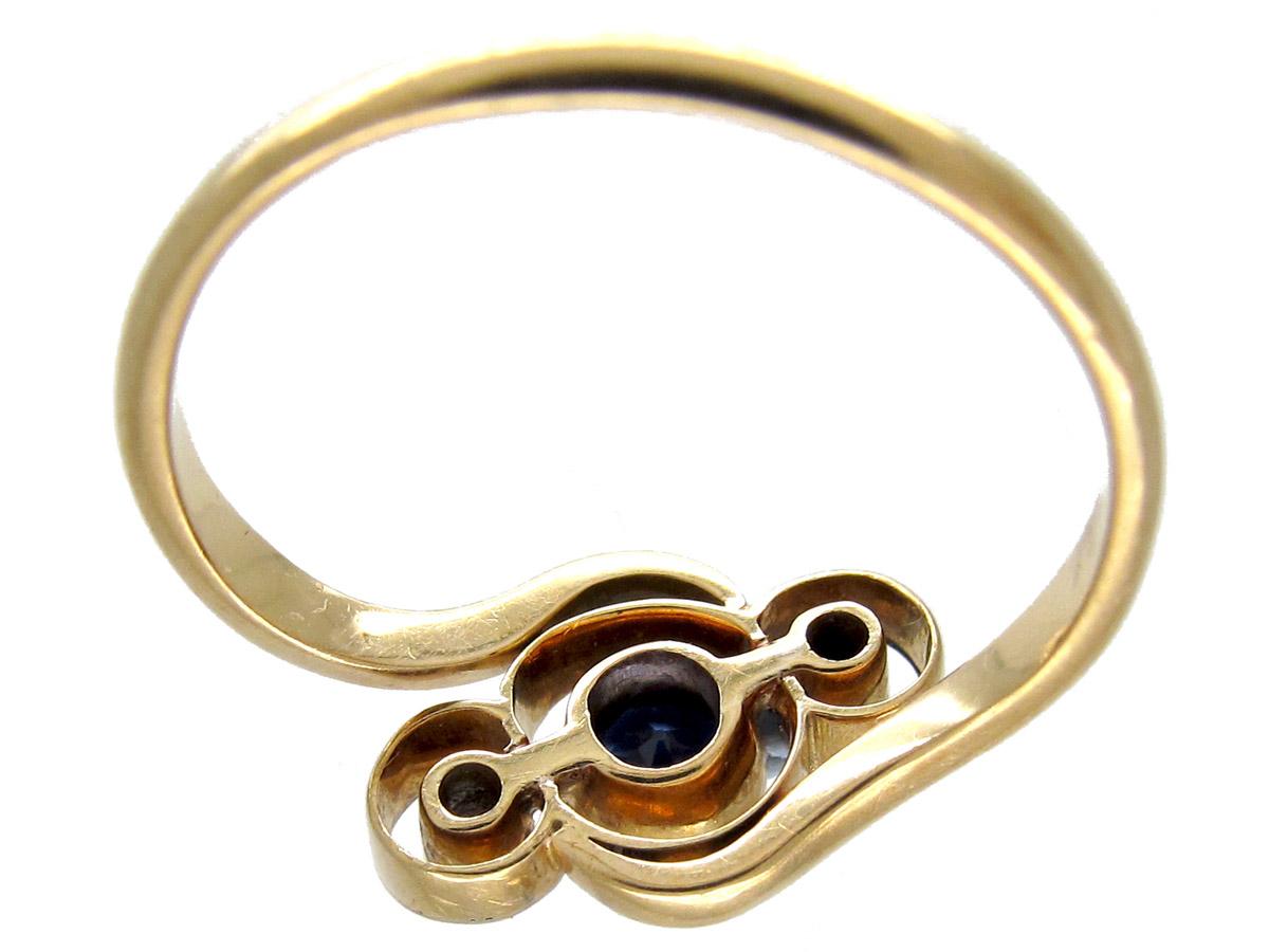 Art Nouveau Sapphire & Diamond Crossover Ring