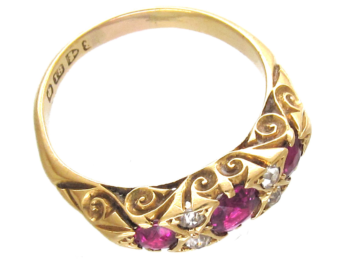 Victorian Ruby & Diamond Three Stone Ring