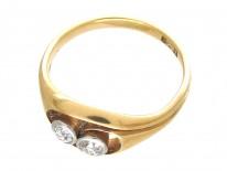 Art Nouveau Two Stone Diamond Twist Ring