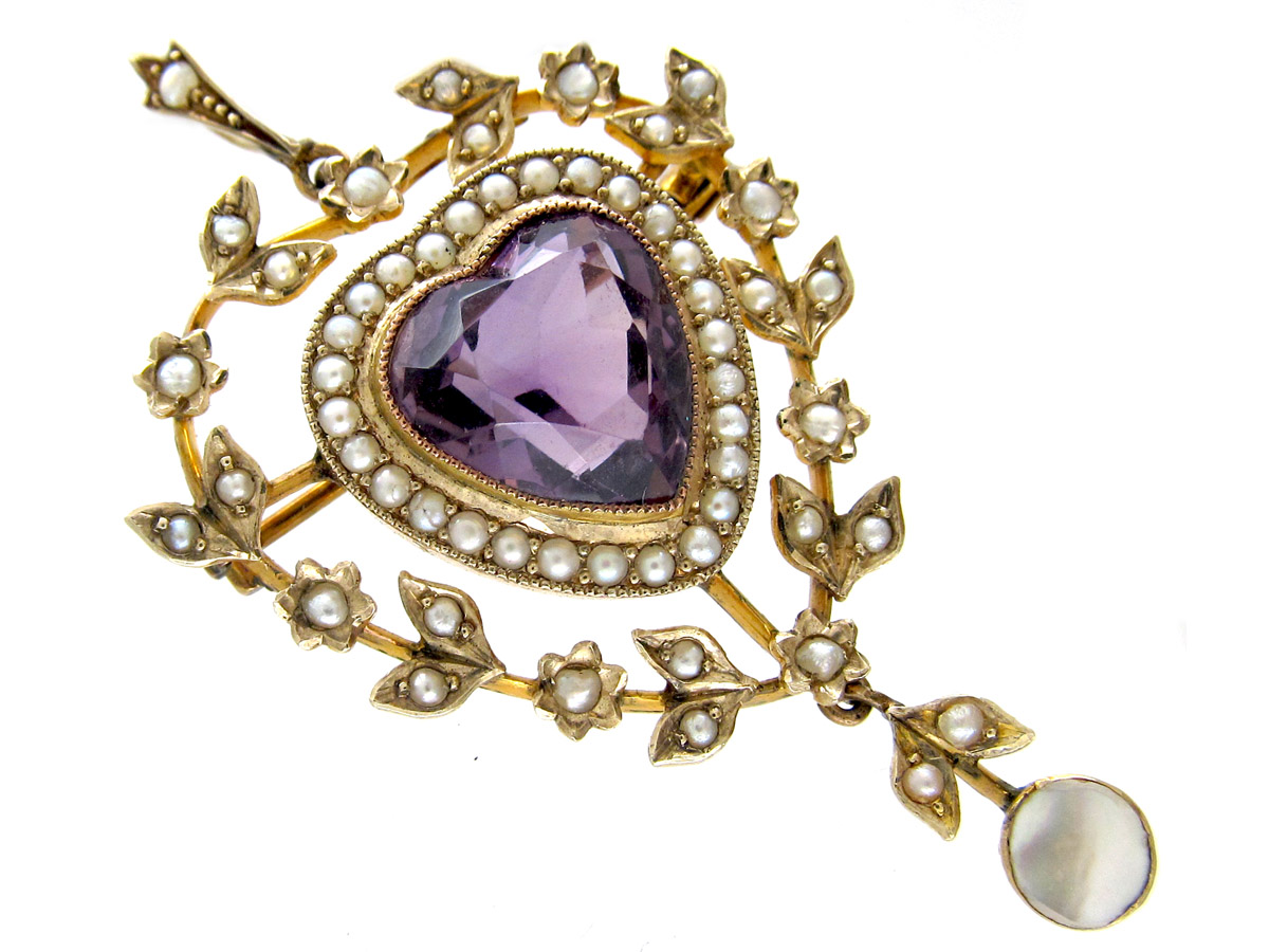Edwardian Amethyst & Natural Split Pearl Heart Shaped Pendant
