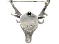 Silver Victorian Stag's Head Brooch