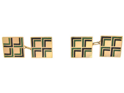 Art Deco Green & Black Enamel 18ct Gold Cufflinks