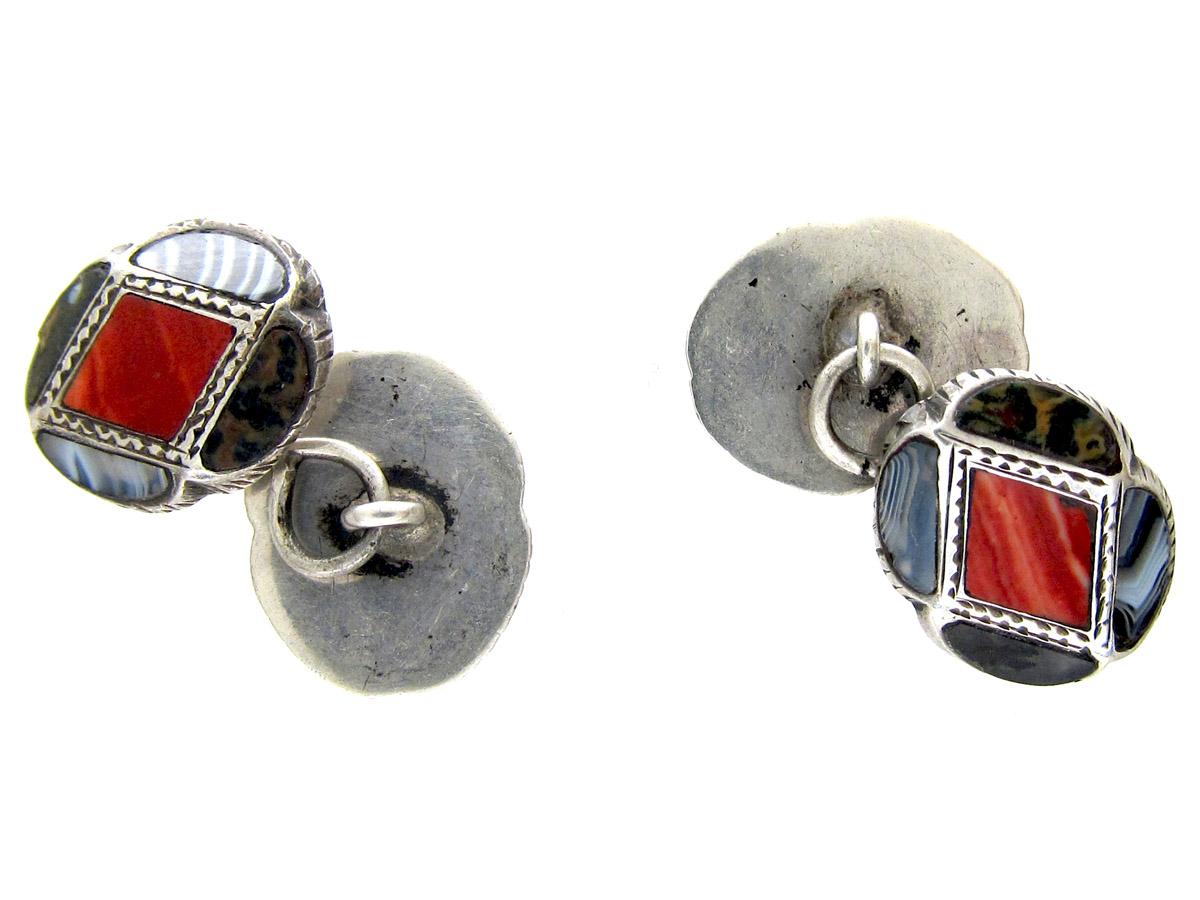 Scottish Silver & Agate Victorian Cufflinks