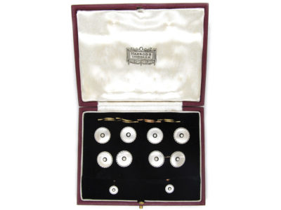 9ct & Platinum, Mother of Pearl, Onyx & Pearl Art Deco Dress Set in Original Harrods Case