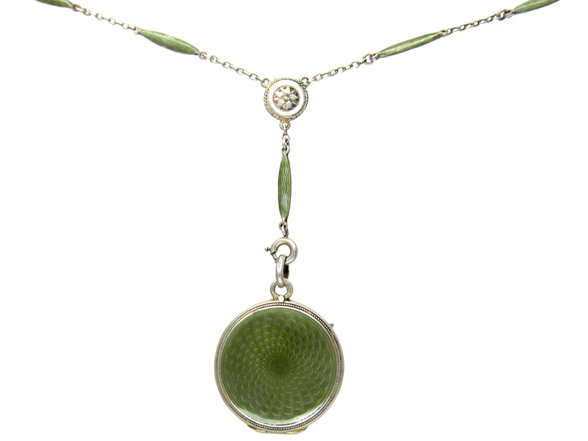 Art Deco Green Enamel & Silver Pendant on Original Chain